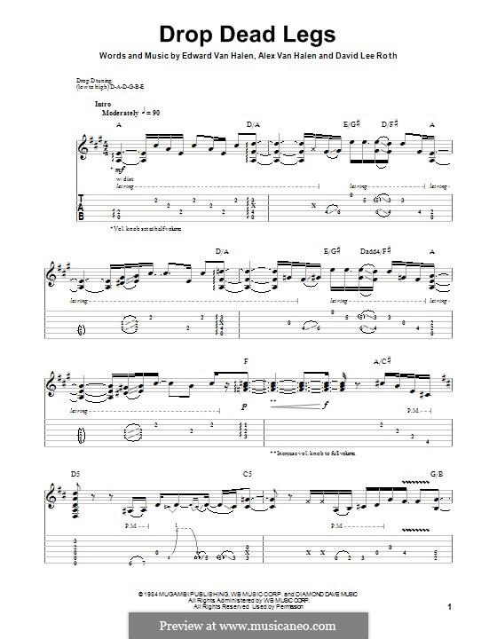 Drop Dead Legs (Van Halen): For guitar with tab by Alex Van Halen, Edward Van Halen