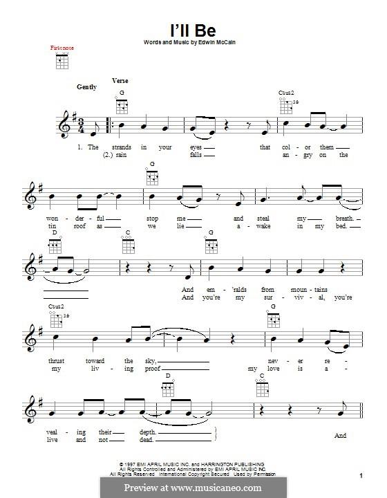 I'll Be: For ukulele by Edwin McCain