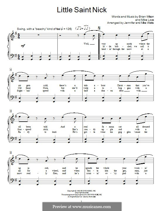 Little Saint Nick (The Beach Boys): For piano by Brian Wilson, Mike Love