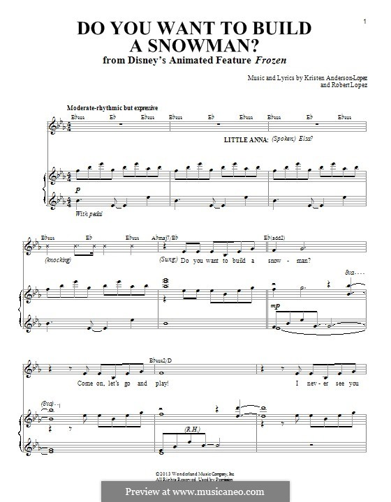 Do You Want to Build a Snowman? (Kristen Bell): For voice and piano by Robert Lopez, Kristen Anderson-Lopez
