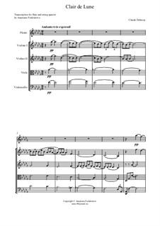 No.3 Clair de lune: For flute and string quartet – full score by Claude Debussy