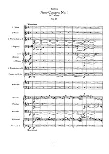 Concerto for Piano and Orchestra No.1 in D Minor, Op.15: Movement I by Johannes Brahms