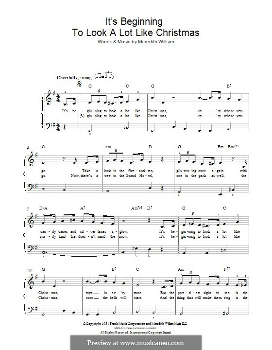 It's Beginning to Look a Lot Like Christmas (Perry Como): For piano by Meredith Willson