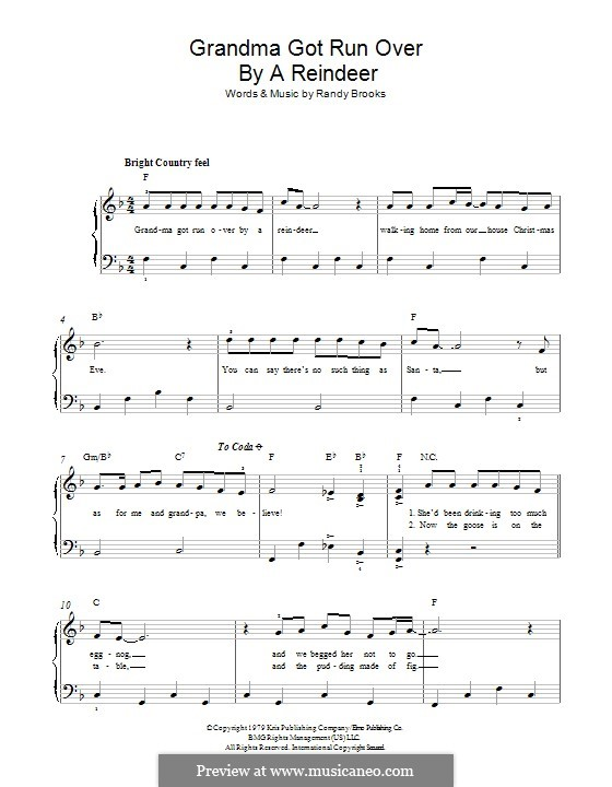 Grandma Got Run Over By a Reindeer: For piano by Randy Brooks