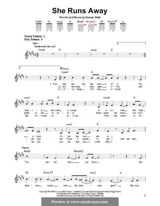 She Runs Away: For guitar with tab by Duncan Sheik