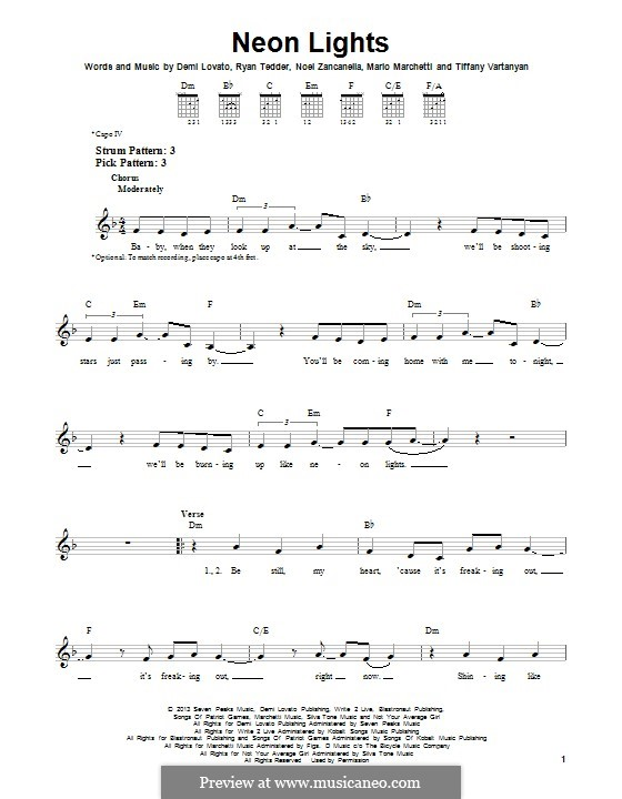 Neon Lights: For guitar with tab by Demi Lovato, Noel Zancanella, Ryan B Tedder