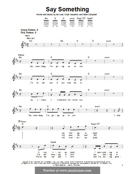 Say Something (A Great Big World): For guitar with tab by Ian Axel, Chad Vaccarino