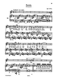 Six Songs, Op.7: No.2 Parole (Word) by Johannes Brahms