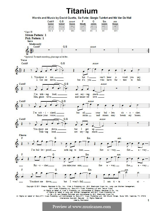 Titanium: For guitar with tab by David Guetta, Giorgio Tuinfort, Nick van de Wall, Sia Furler