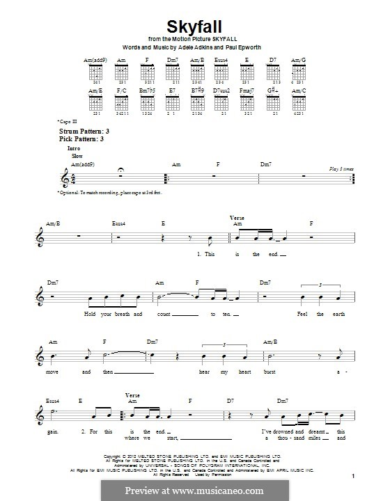 Skyfall By Adele P Epworth Sheet Music On Musicaneo