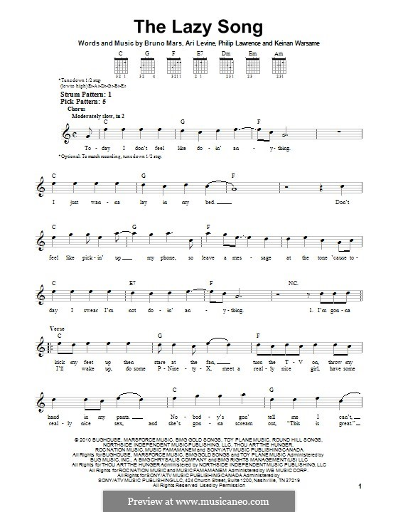 The Lazy Song: For guitar with tab by Ari Levine, Keinan Abdi Warsame, Bruno Mars, Philip Lawrence