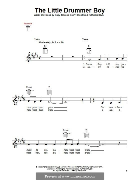 The Little Drummer Boy: For ukulele by Harry Simeone, Henry Onorati, Katherine K. Davis