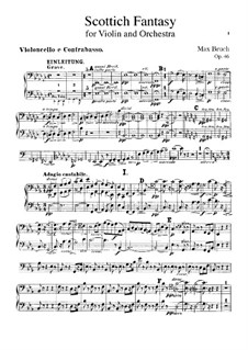 Scottish Fantasia for Violin and Orchestra, Op.46: Cello and double bass part by Max Bruch