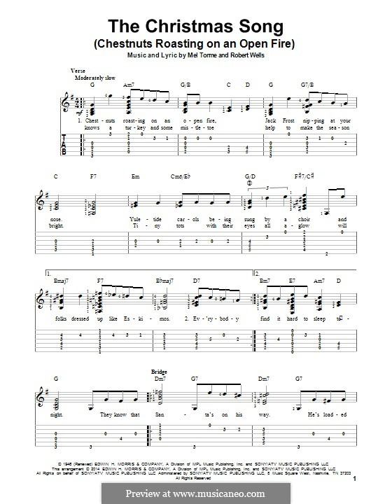 The Christmas Song (Chestnuts Roasting on an Open Fire): For guitar with tab by Mel Tormé, Robert Wells