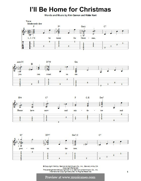 I'll Be Home for Christmas: For guitar with tab by Kim Gannon, Walter Kent