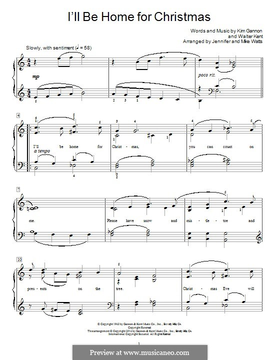 I'll Be Home for Christmas: For piano (with lyrics) by Kim Gannon, Walter Kent