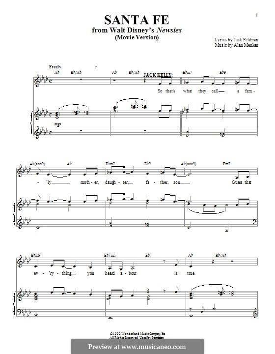 Santa Fe (from Newsies): For voice and piano by Alan Menken
