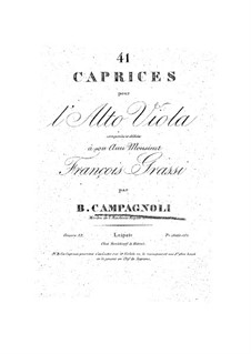 Forty-One Caprices for Viola, Op.22: For a single performer by Bartolomeo Campagnoli