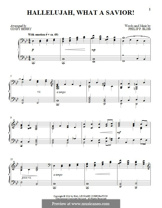 Hallelujah! What a Savior!: For piano by Philip Paul Bliss