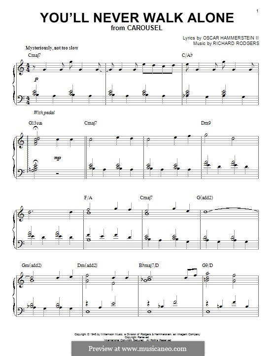You'll Never Walk Alone (from Carousel): For piano by Richard Rodgers