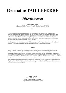 Divertissement for viols: Divertissement for viols by Germaine Tailleferre