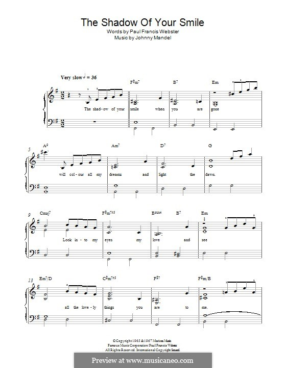 The Shadow of Your Smile (Tony Bennett): For piano by Johnny Mandel