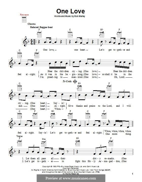 One Love: For ukulele by Bob Marley