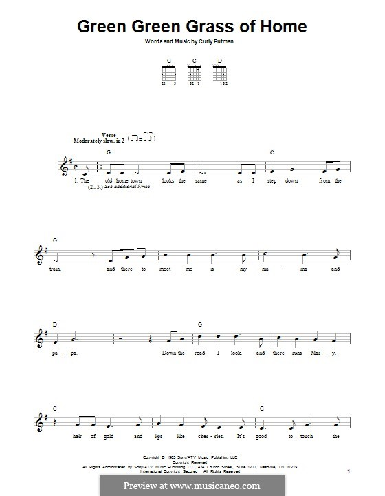 Green Green Grass of Home: For guitar with tab by Curly Putman
