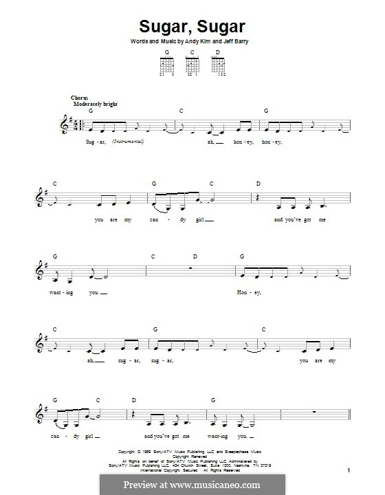 Sugar, Sugar (The Archies): For guitar with tab by Andy Kim, Jeff Barry