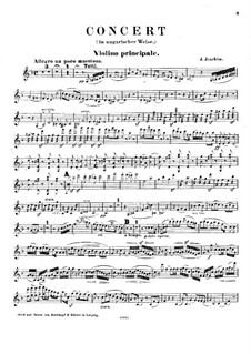 Violin Concerto in the Hungarian Style, Op.11: Violin part by Joseph Joachim
