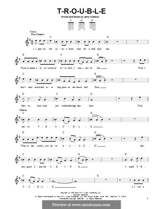 T-R-O-U-B-L-E (Elvis Presley): For guitar with tab by Jerry Chesnut