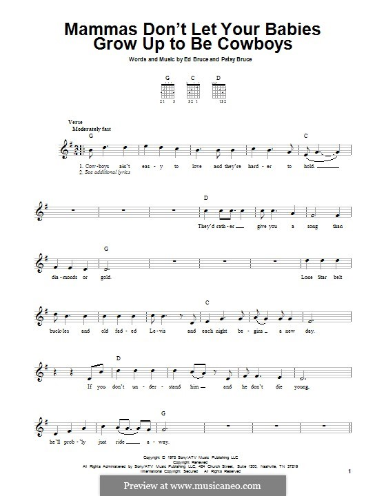 Mammas don't Let Your Babies Grow Up To Be Cowboys (Waylon Jennings & Willie Nelson): For guitar with tab by Ed Bruce, Patsy Bruce