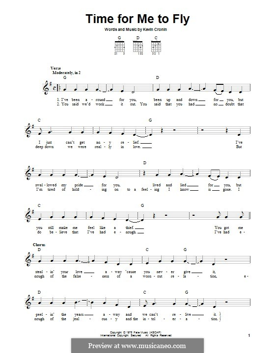 Time for Me to Fly (REO Speedwagon): For guitar with tab by Kevin Cronin