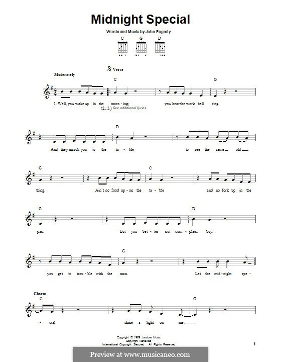 Midnight Special (Creedence Clearwater Revival): For guitar with tab by John C. Fogerty