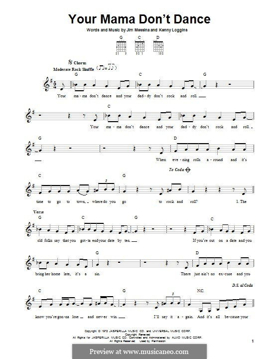 Your Mama Don't Dance: For guitar with tab by J. Messina, Kenny Loggins