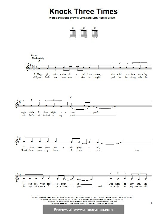 Knock Three Times (Dawn): For guitar with tab by Irwin Levine, L. Russell Brown