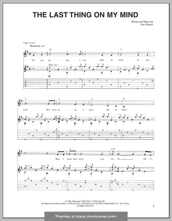 The Last Thing on My Mind: For guitar with tab by Tom Paxton