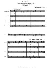 Mein junges Leben hat ein End', D.48: Arranged for SATB saxophone quartet - score and parts by Jan Pieterszoon Sweelinck