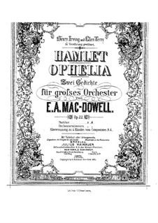 Hamlet and Ophelia, Op.22: Arrangement for piano four hands by Edward MacDowell