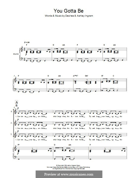 You Gotta Be: For mixed choir by Des'ree, Ashley Ingram