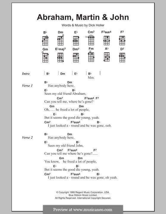 Abraham, Martin and John (Marvin Gaye): For ukulele by Dick Holler