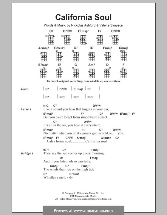 California Soul (Marlena Shaw): For ukulele by Nicholas Ashford, Valerie Simpson
