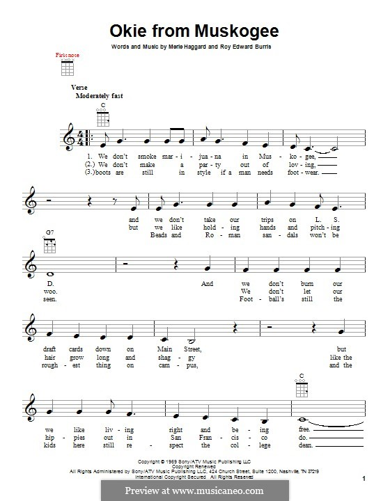 Okie from Muskogee by R.E. Burris - sheet music on MusicaNeo