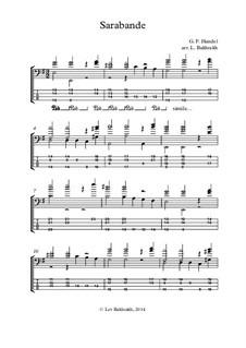 Sarabande in D Minor: For bass guitar with tab by Georg Friedrich Händel