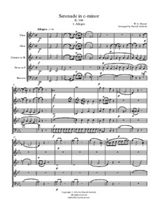 Serenade for Winds No.12 in C Minor, K.388: Full score, parts by Wolfgang Amadeus Mozart