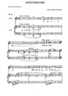 Anniversaire: Piano-vocal score by Jules Massenet