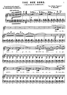 La reine Topaze: Chanson de L'abeille (The bee song), for voice and piano by Victor Massé
