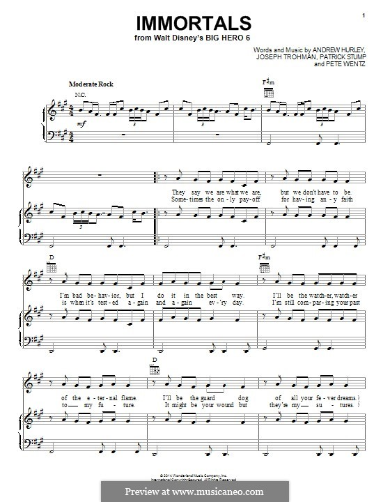 Immortals (Fall Out Boy): For voice and piano (or guitar) by Andrew Hurley, Joseph Trohman, Patrick Stump, Peter Wentz
