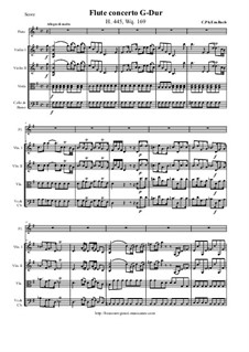 Concerto for Flute and String Orchestra in G Major, H 445 Wq 169: Score and all parts by Carl Philipp Emanuel Bach