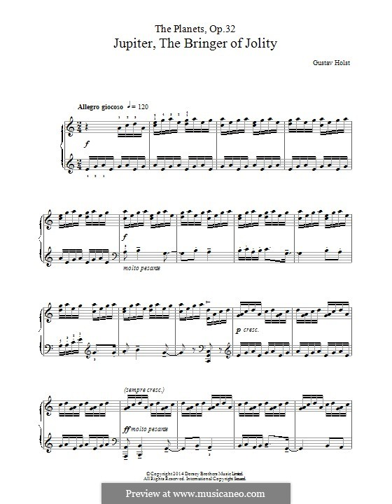 Jupiter: For piano by Gustav Holst